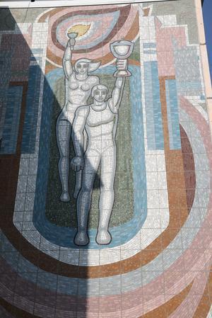 Завершены работы по восстановлению мозаичного панно «Олимпийцы»
